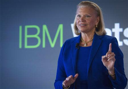 "IBM Chairwoman and CEO Virginia ""Ginni"" Rometty speaks at an IBM Watson event in lower Manhattan, New York in this January 9, 2014, file photo. REUTERS/Brendan McDermid/Files"