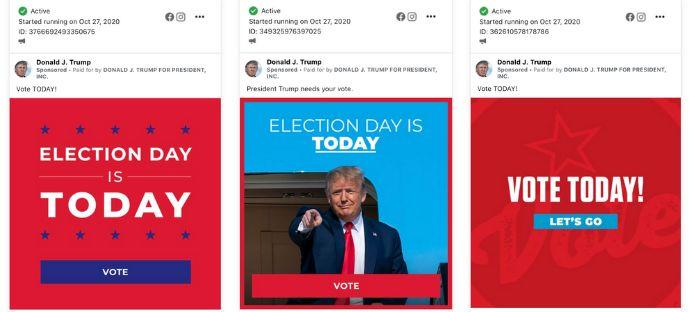 Some of the Trump campaign's political ads that launched post-ban on Facebook. (Photo: Facebook)