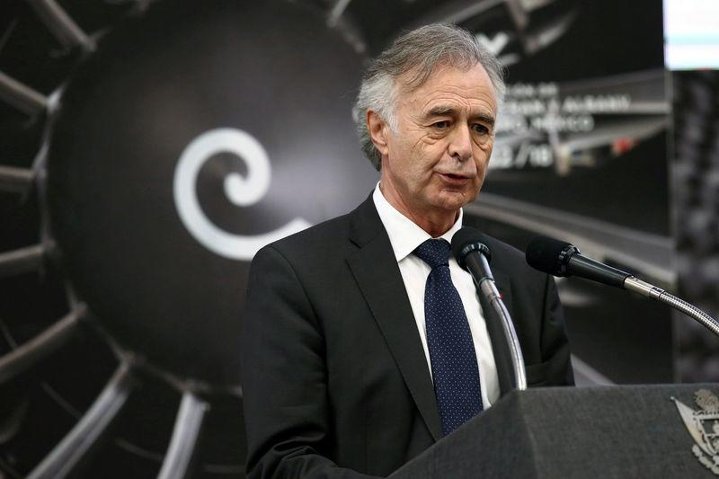 FILE PHOTO: Safran Chief Executive Petitcolin delivers speech during the inauguration of the Safran Aircraft Engines plant in Queretaro