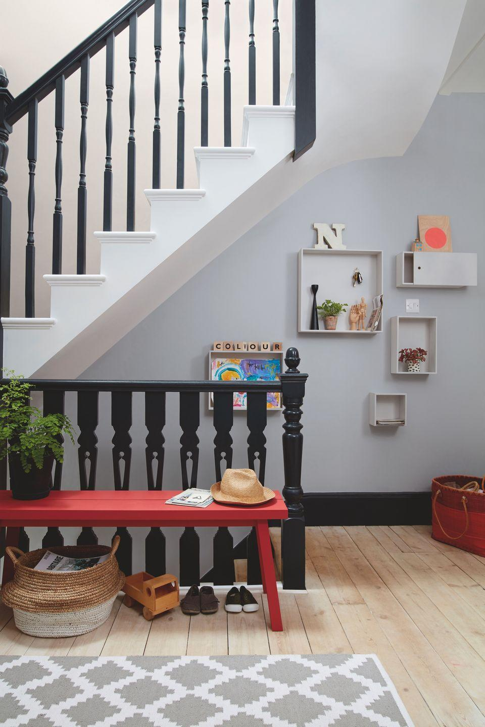 """<p>Looking to transform your <a href=""""https://www.housebeautiful.com/uk/decorate/hallway/a2283/hallway-decorating-ideas-tips/"""" rel=""""nofollow noopener"""" target=""""_blank"""" data-ylk=""""slk:entryway"""" class=""""link rapid-noclick-resp"""">entryway</a>? As one of the most high-traffic areas in the home, opt for durable colours that will hide wall imperfections.</p><p>According to Dulux, grey is a brilliant shade to choose. 'The go-to shade for stylish spaces, grey has become a colour with cult status, and this trendy shade is not going anywhere.' Instead of choosing an all-over grey, experiment with pops of colour such as red, dark green or navy to create a fabulous first impression. </p><p>Pictured: <a href=""""https://go.redirectingat.com?id=127X1599956&url=https%3A%2F%2Fwww.dulux.co.uk%2Fen%2Fproducts%2Ffilters%2FcccId_1187585&sref=https%3A%2F%2Fwww.housebeautiful.com%2Fuk%2Fdecorate%2Fwalls%2Fg36128885%2Fcolour-schemes-high-traffic-rooms%2F"""" rel=""""nofollow noopener"""" target=""""_blank"""" data-ylk=""""slk:'Mineral Haze' by Dulux"""" class=""""link rapid-noclick-resp"""">'Mineral Haze' by Dulux</a></p>"""