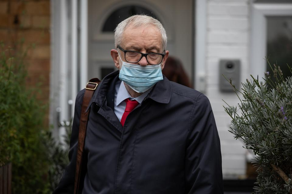 Former Labour leader Jeremy Corbyn leaves his house in North London ahead of the release of an anti-Semitism report by the Equality and Human Rights Commission (EHRC). (Photo by Aaron Chown/PA Images via Getty Images)