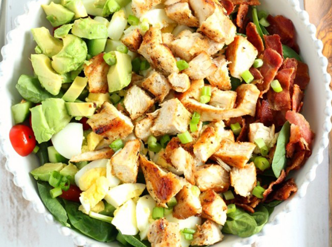 """<h2>2. Chicken Cobb Salad with Buffalo Ranch</h2> <p>We feel stronger and more energized already.</p> <p><a class=""""cta-button-link"""" href=""""https://www.paleorunningmomma.com/paleo-chicken-cobb-salad-whole30/"""" target=""""_blank"""">Get the recipe</a></p>"""