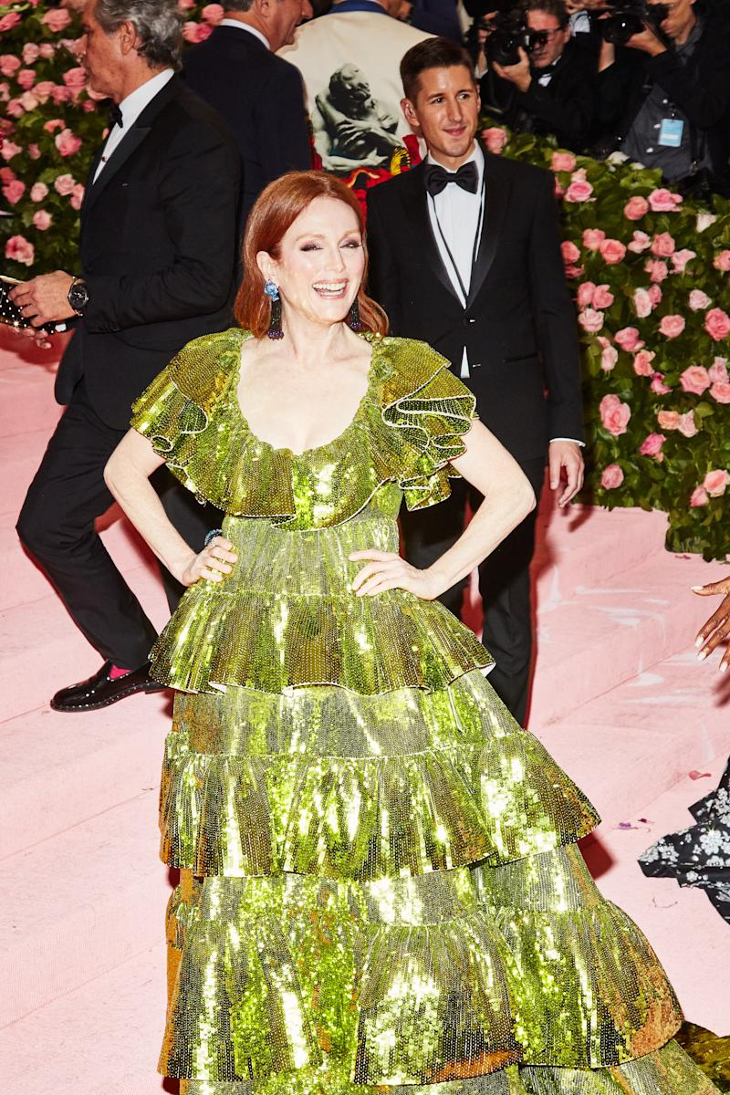 Julianne Moore on the red carpet at the Met Gala in New York City on Monday, May 6th, 2019. Photograph by Amy Lombard for W Magazine.