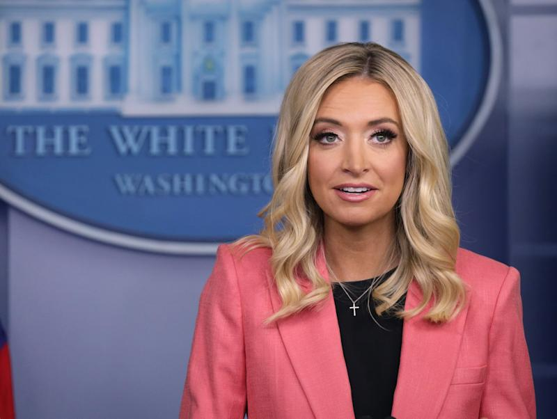 White House press secretary Kayleigh McEnany speaks during a media briefing at the White House: Getty Images
