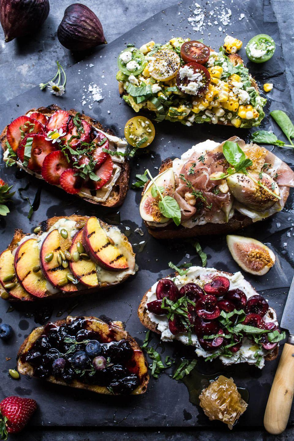 """<p>If it screams summer — think: peaches, strawberries, or tomatoes — then it deserves a spot on these mini toasts.</p><p><em><a href=""""https://www.halfbakedharvest.com/summer-crostini-6-ways/"""" rel=""""nofollow noopener"""" target=""""_blank"""" data-ylk=""""slk:Get the recipe from Half Baked Harvest »"""" class=""""link rapid-noclick-resp"""">Get the recipe from Half Baked Harvest »</a></em></p>"""