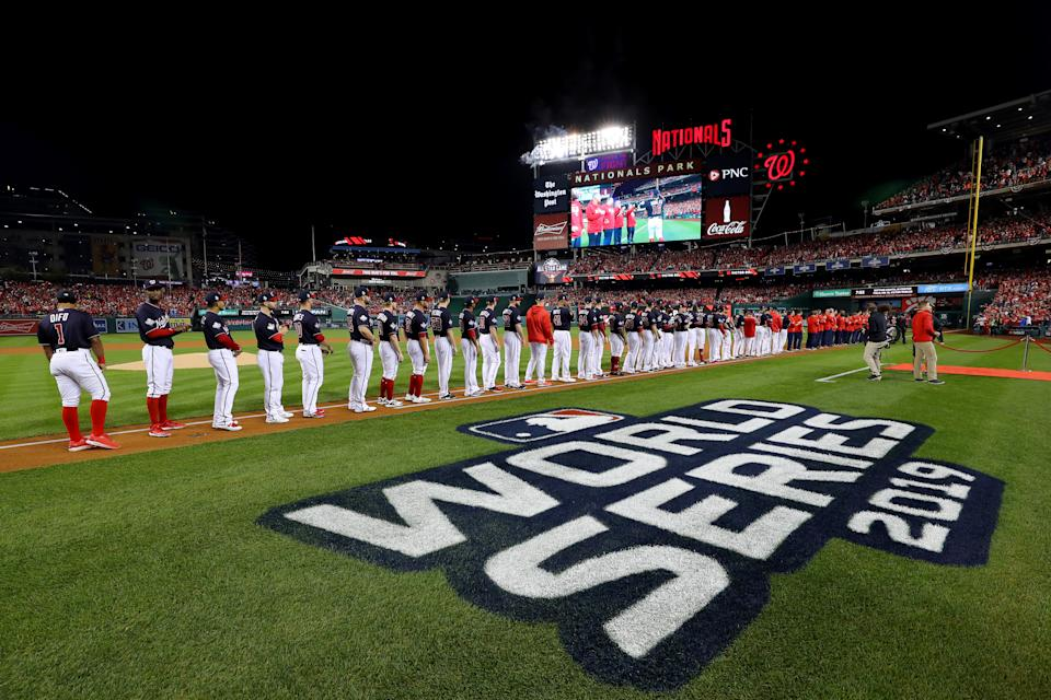 WASHINGTON, DC - OCTOBER 25:  A general view of Nationals Park during player introductions prior to Game 3 of the 2019 World Series between the Houston Astros and the Washington Nationals at Nationals Park on Friday, October 25, 2019 in Washington, District of Columbia. (Photo by Alex Trautwig/MLB Photos via Getty Images)