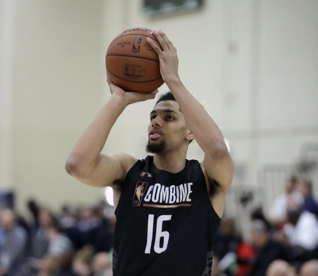 "FILE - In this May 17, 2018, file photo, Brian Bowen, from South Carolina, participates in the NBA draft basketball combine in Chicago. South Carolina's Frank Martin shrugs his shoulders with a ""What can you do?"" expression. The Gamecocks coach had made peace with the NCAA's decision that led highly regarded prospect Brian Bowen to opt for a pro career instead of staying in college. (AP Photo/Charles Rex Arbogast, File)"