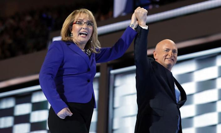 Gabby Giffords and Mark Kelly at the Democratic national convention in Philadelphia in July 2016.