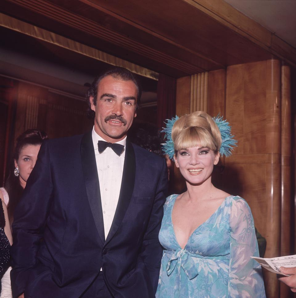 1967:  Film star Sean Connery with his first wife Diane Cilento at the film premiere of the James Bond film 'You Only Live Twice', in which he starred.  (Photo by Hulton Archive/Getty Images)