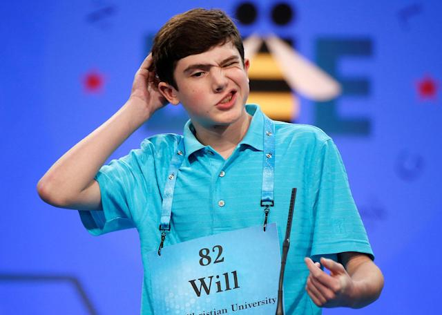 <p>Will Lourcey, 14, of Fort Worth, Texas, contemplates a word during the 2017 Scripps National Spelling Bee at National Harbor in Oxon Hill, Maryland, U.S., May 31, 2017. (Joshua Roberts/Reuters) </p>
