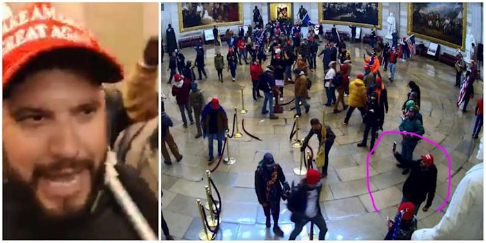 Two images purporting to show Gabriel Garcia Augustin during the Capitol riot: On the right, a close-up of a man in a MAGA hat. On the left, security footage of crowd in the rotunda, with the suspect circled.