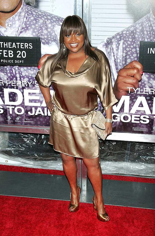 "Sherri Shepherd failed to impress at the ""Madea Goes to Jail"" premiere in an unflattering metallic frock. Jim Spellman/<a href=""http://www.wireimage.com"" target=""new"">WireImage.com</a> - February 18, 2009"