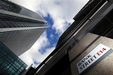 File photo of a sign for Bank Street and high rise offices in the financial district Canary Wharf in London