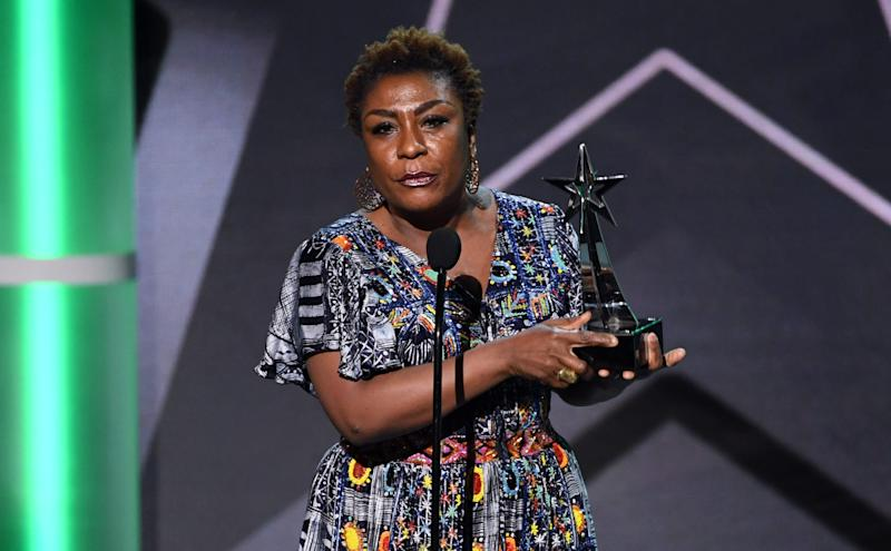 LOS ANGELES, CALIFORNIA - JUNE 23: Bose Ogulu accepts the Best International Act on behalf of her son Burna Boy onstage at the 2019 BET Awards on June 23, 2019 in Los Angeles, California. (Photo by Kevin Winter/Getty Images) ORG XMIT: 775352826 ORIG FILE ID: 1157887740