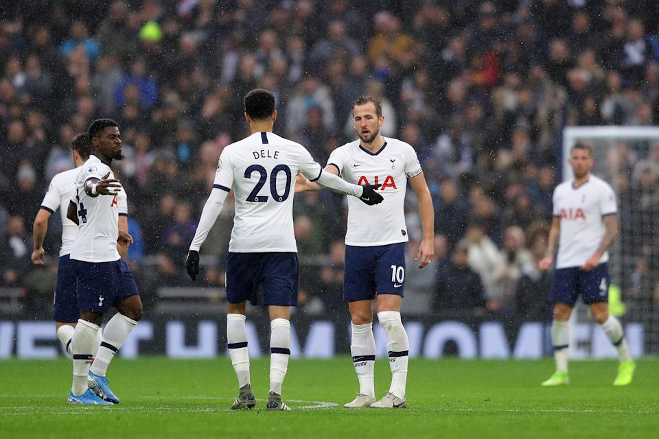Harry Kane (No. 10) started Tottenham Hotspur's comeback against Brighton and Hove Albion, and Dele Alli capped it off. (Richard Heathcote/Getty)