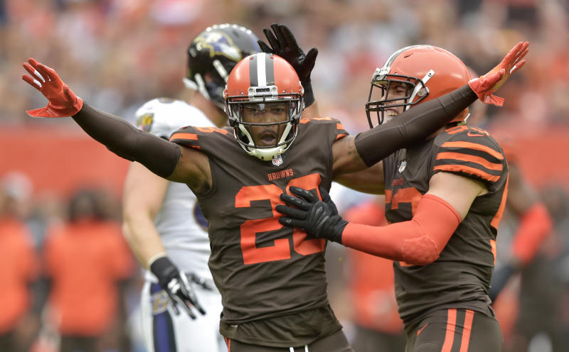 FILE - In this Oct. 7, 2018, file photo, Cleveland Browns defensive back E.J. Gaines (28) celebrates after breaking up a pass during the first half of an NFL football game against the Baltimore Ravens in Cleveland. The Browns lost two defensive starters after placing linebacker Christian Kirksey and cornerback E.J. Gaines on injured reserve. One of the teams captains, Kirksey hurt his hamstring in the second quarter of Sundays loss to the Kansas City Chiefs. Gaines was also hurt, sustaining his second concussion in three weeks. (AP Photo/David Richard, File)