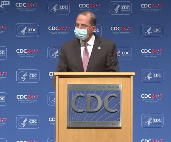 Health and Human Services Secretary Alex Azar speaking at the U.S. Centers for Disease Control and Prevention in Atlanta on Oct. 21.