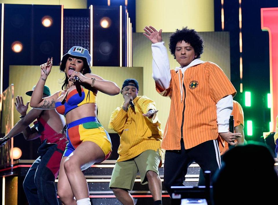 Cardi B and Bruno Mars perform at the 60th Annual Grammy Awards at New York City's Madison Square Garden on Jan. 28, 2018. (Photo: Kevin Mazur/Getty Images for NARAS)<span><br></span>