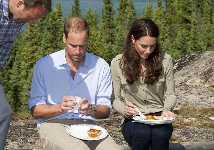 """<p>At a dining table, the royal fam is to fold their <a href=""""http://www.businessinsider.com/14-etiquette-rules-the-royal-family-must-always-follow-2017-8#fold-napkins-in-half-11"""" rel=""""nofollow noopener"""" target=""""_blank"""" data-ylk=""""slk:napkins"""" class=""""link rapid-noclick-resp"""">napkins</a> in half and then, when needed, use the part inside the fold to wipe their faces clean of food. That's to prevent all their fancy clothes from getting stained. The fold also prevents anyone from seeing what a mess they made!</p>"""