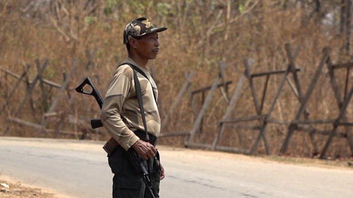 The Indian border guard on the border between India and Myanmar.