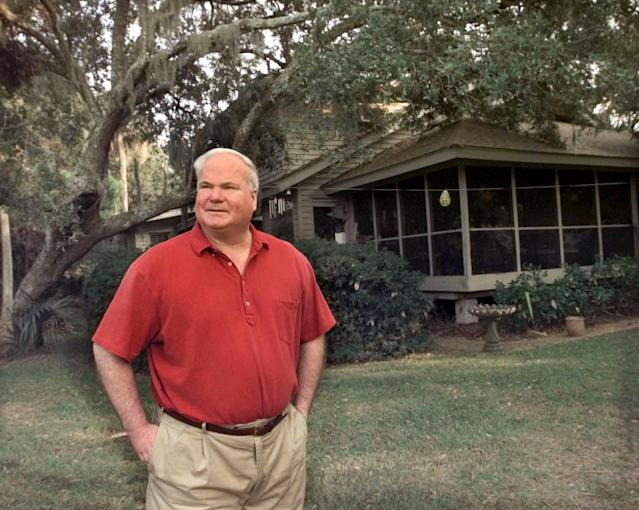 <p>Pat Conroy, who died on March 4 after battling pancreatic cancer, was a prolific writer whose novels The Prince of Tides and The Great Santini were later adapted into acclaimed films. Conroy was 70. — (Pictured) Novelist Pat Conroy stands at the back of his house on Fripp Island, S.C. in 2000. (AP Photo/Lou Krasky) </p>