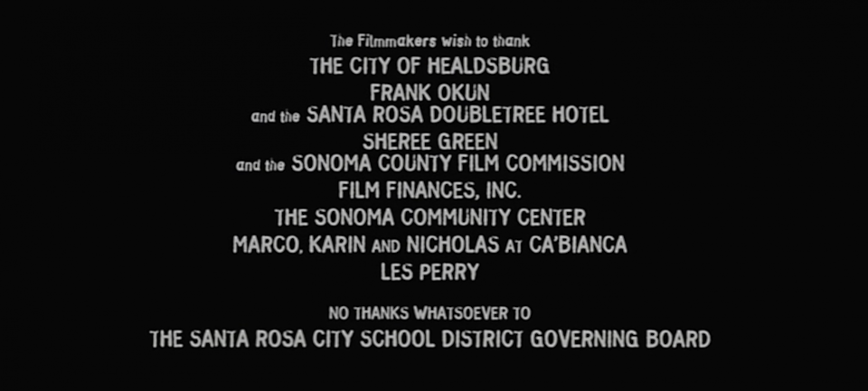 a photo of end credits from scream horror movie