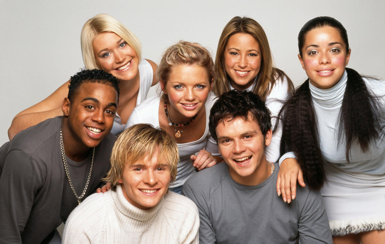 Jo O'Meara (back left) was a member of S Club 7 from 1998 until they split in 2003. (Tim Roney/Getty Images)