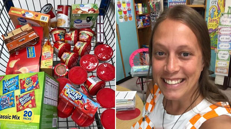 The trolley full of groceries for students at Jacksboro Elementary School and teacher Brooke Goins (right)Source: Facebook/Brooke Goins