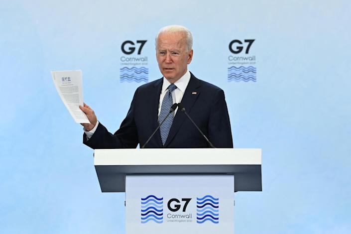 President Biden takes part in a press conference on the final day of the G-7 summit at Cornwall Airport Newquay on June 13, 2021. / Credit: BRENDAN SMIALOWSKI/AFP via Getty Images