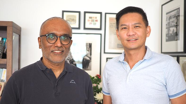 Singaporean academics Cherian George (left) and Donald Low. (Photo courtesy of Cherian George)