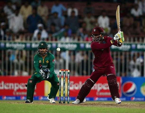 SHARJAH, UNITED ARAB EMIRATES - OCTOBER 02: Marlon Samuels of West Indies bats during the second One Day International match between Pakistan and West Indies at Sharjah Cricket Stadium on October 2, 2016 in Sharjah, United Arab Emirates. (Photo by Francois Nel/Getty Images)