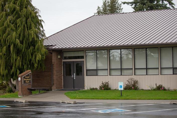 "Researchers analyzed ventilation in this church hall, where Skagit Valley Chorale members met for a rehearsal that led to a fatal outbreak of COVID-19. <span class=""copyright"">(Karen Ducey / For The Times)</span>"