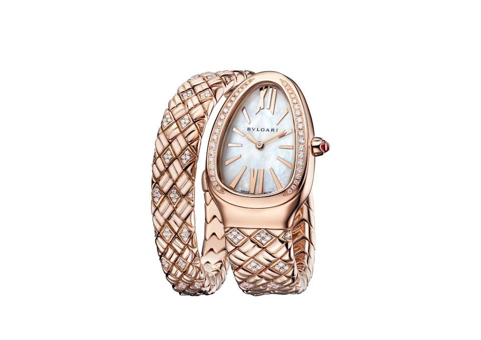 """<p><a class=""""link rapid-noclick-resp"""" href=""""https://go.redirectingat.com?id=127X1599956&url=https%3A%2F%2Fwww.bulgari.com%2Fen-gb%2F103250.html&sref=https%3A%2F%2Fwww.harpersbazaar.com%2Fuk%2Ffashion%2Fjewellery-watches%2Fg36812%2F10-classic-pieces-of-jewellery-every-woman-should-own%2F"""" rel=""""nofollow noopener"""" target=""""_blank"""" data-ylk=""""slk:SHOP NOW"""">SHOP NOW</a></p><p>Lithe and sensuous, the serpent has been the symbol of the Italian jeweller <a href=""""https://www.harpersbazaar.com/uk/fashion/jewellery-watches/a30101641/hollywood-in-rome/"""" rel=""""nofollow noopener"""" target=""""_blank"""" data-ylk=""""slk:Bulgari"""" class=""""link rapid-noclick-resp"""">Bulgari</a> ever since it first appeared in the form of snake-like watches and bracelets in the 1940s. </p><p>In the early '60s it shot to fame when Elizabeth Taylor was photographed wearing Bulgari's Serpenti watch on the set of Cleopatra, the film for which she became the first actress to secure a million-dollar contract. </p><p>The Serpenti has been an iconic design ever since, and can now be found slithering across a huge collection of Bulgari's bags, jewellery and watches. Its most opulent new iteration is the Serpenti Spiga watch, which features a graphic diamond-set bracelet inspired by an archive design. <br></p><p>Serpenti Spiga watch, £39,100, <a href=""""https://www.bulgari.com/en-gb/"""" rel=""""nofollow noopener"""" target=""""_blank"""" data-ylk=""""slk:Bulgari"""" class=""""link rapid-noclick-resp"""">Bulgari</a></p>"""