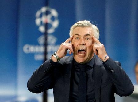 FILE PHOTO: Soccer Football - Champions League - Paris St Germain vs Bayern Munich - Parc des Princes, Paris, France - September 27, 2017 Carlo Ancelotti reacts REUTERS/Charles Platiau/File Photo