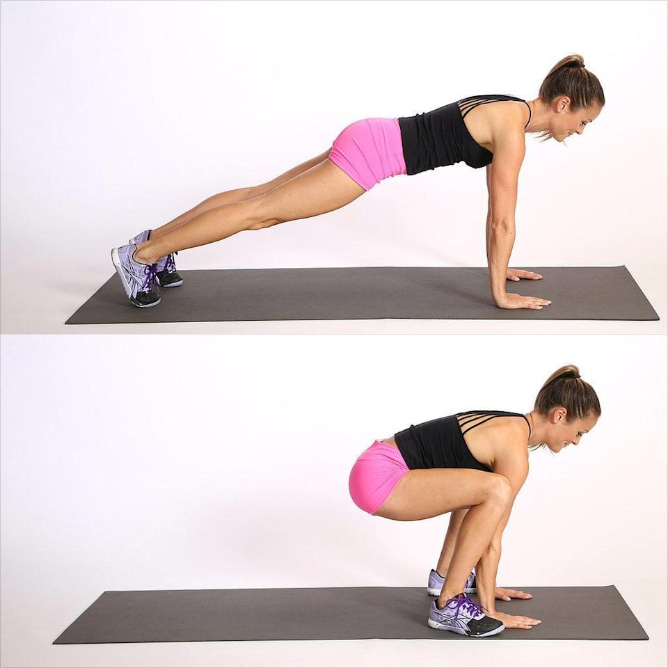 """<p>""""This move is going to hit several muscle groups at once - arms, core, legs, and glutes,"""" said trainer <a href=""""https://www.facebook.com/strong.with.sarah1/"""" class=""""link rapid-noclick-resp"""" rel=""""nofollow noopener"""" target=""""_blank"""" data-ylk=""""slk:Sarah Pelc Graca"""">Sarah Pelc Graca</a>, NASM. It's essentially a half-burpee, she added, so it's a good modification if you're not up to the full burpee yet.</p> <ul> <li>Begin in a plank position with your shoulders over your wrists and feet hips-width apart.</li> <li>Jump your feet to the outside of your hands, coming into a deep squat and keeping your hands on the floor. Engage your core as you jump and land softly.</li> <li>Jump your feet back to a plank. This counts as one rep.</li> </ul>"""