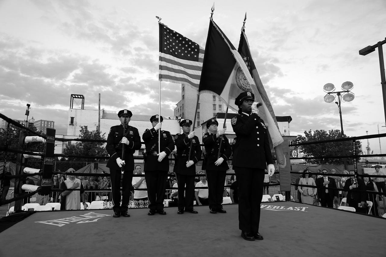 <p>The colors are presented as the national anthem is performed before the Brooklyn Smoker boxing tournament in Coney Island, Brooklyn, on Aug. 24, 2017. (Photo: Gordon Donovan/Yahoo News) </p>