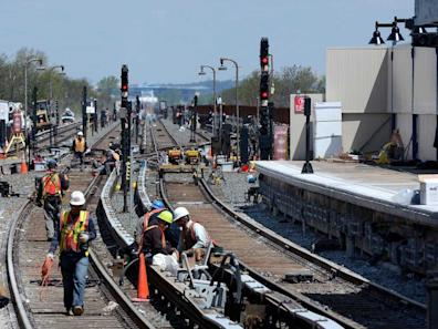 mta workers rockaways queens repair tracks subway