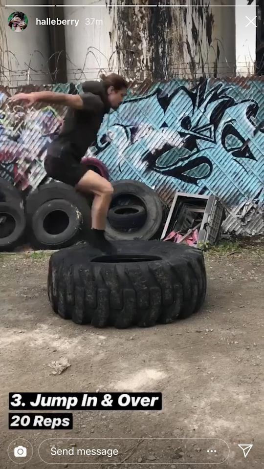"""<p>After that, jump in and over the tire. If this seems too hard, you can always do <a rel=""""nofollow"""" href=""""https://www.popsugar.com/fitness/photo-gallery/43448660/image/43448661/Tuck-Jump"""">tuck jumps</a>.</p>"""