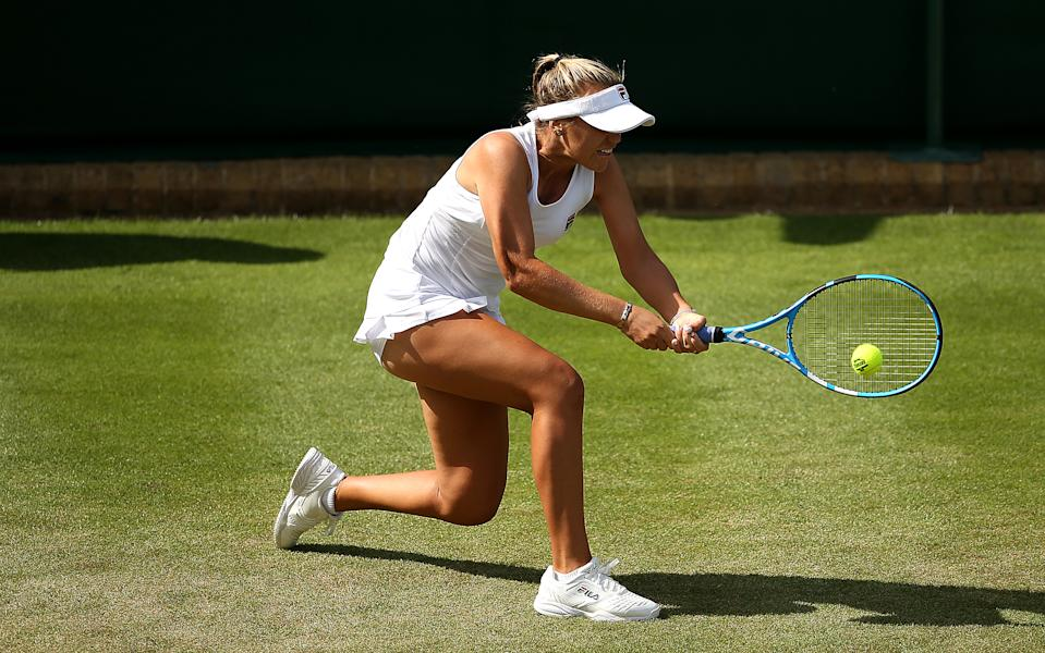 Sofia Kenin in action during day three of the Wimbledon Championships at the All England Lawn Tennis and Croquet Club, London. (Photo by Steven Paston/PA Images via Getty Images)