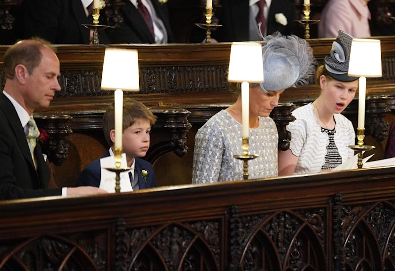 Prince Edward and Sophie the Earl and Countess of Wessex and their children Lady Louise Windsor and James, Viscount Severn take their seats at St George's Chapel at Windsor Castle before the wedding of Prince Harry to Meghan Markle on May 19, 2018 in Windsor, England.