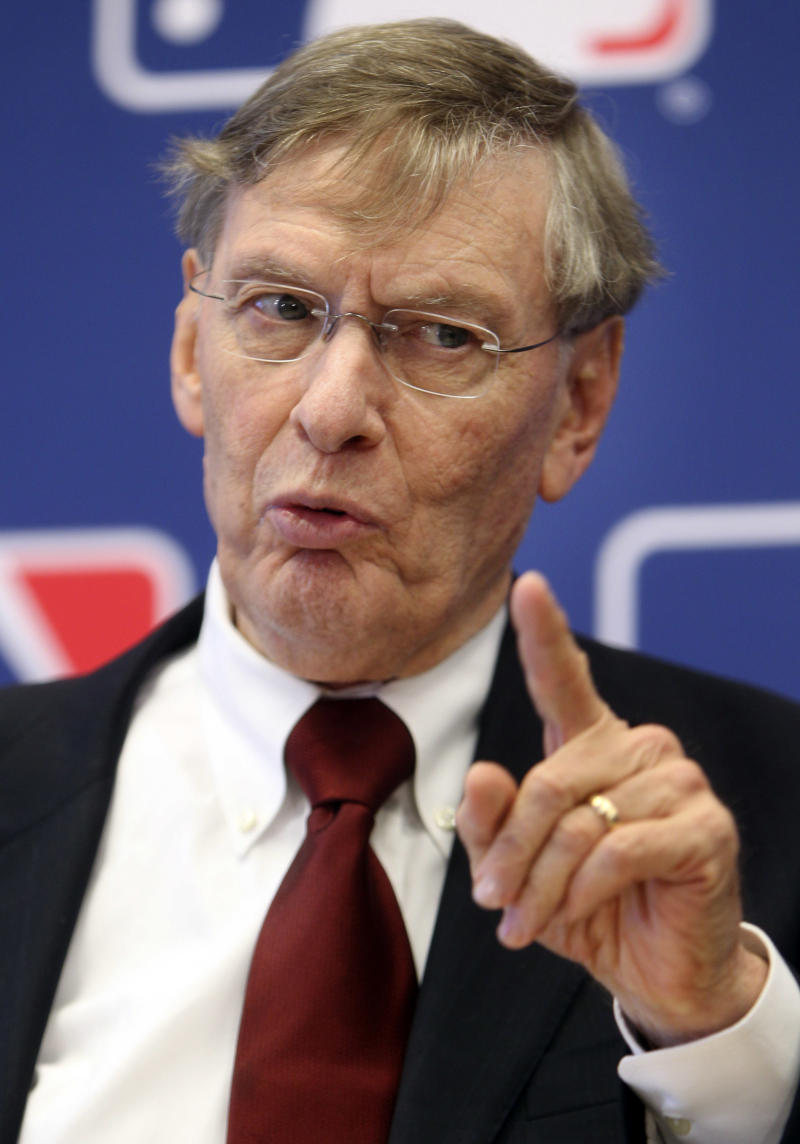 Major League Baseball Commissioner Bud Selig speaks at a news conference after meeting the team owner at MLB headquarters in New York, Thursday, May 17, 2012.  (AP Photo/Seth Wenig)