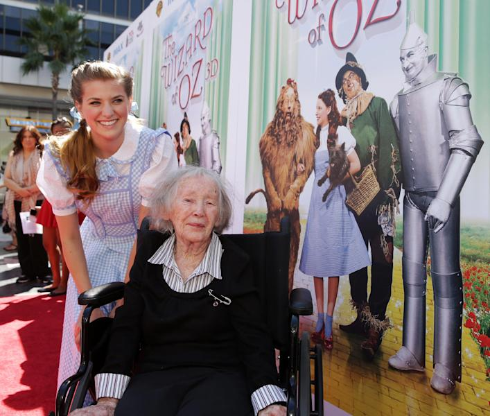 "This Sept. 15, 2013 photo provided by Warner Bros. Home Entertainment shows Danielle Wade, left, and Ruth Duccini at Warner Bros. world premiere screening of ""The Wizard of Oz"" in IMAX 3D and the grand opening of the newly converted TCL Chinese Theatre IMAX in the Hollywood section, of Los Angeles. Ruth Robinson Duccini, one of the original Munchkins from the 1939 movie ""The Wizard of Oz,"" has died, Thursday, Jan. 16, 2014. She was 95. (AP Photo/Warner Bros. Home Entertainment/, Eric Charbonneau)"