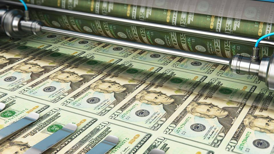 Business success, finance, banking, accounting and making money concept: 3D render illustration of printing 20 US dollar USD money paper cash banknotes on print machine in typography.