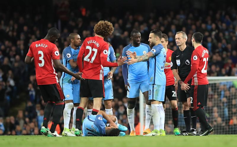 Marouane Fellaini saw red at the Etihad Stadium