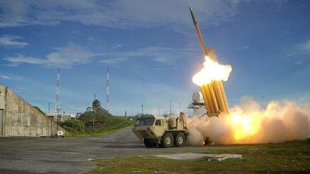 FILE PHOTO: A Terminal High Altitude Area Defense (THAAD) interceptor is launched during a successful intercept test