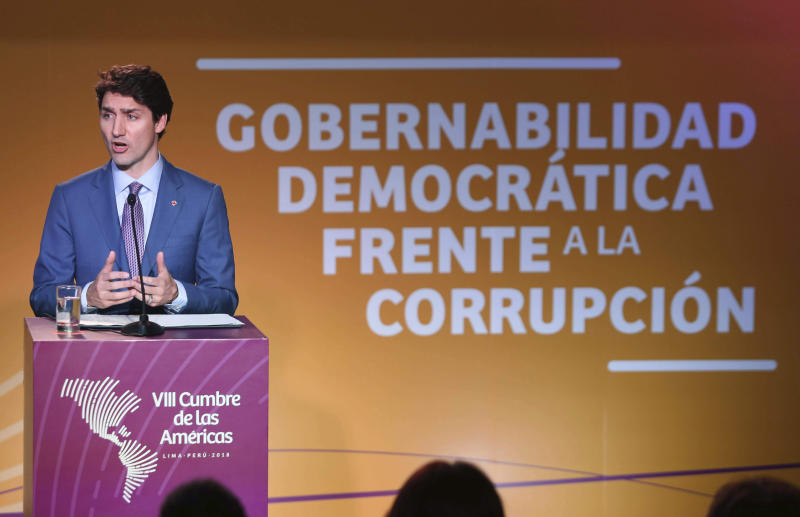 Canada's Prime Minister Justin Trudeau speaks during a news conference during the Americas Summit in Lima, Peru, Saturday, April 14, 2018. (AP Photo/Juan Pablo Azabache)