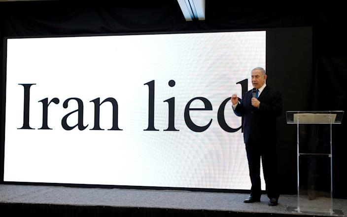 Israeli Prime minister Benjamin Netanyahu speaks during a news conference on Iran's nuclear programme at the Ministry of Defence in 2018 - AMIR COHEN/Reuters
