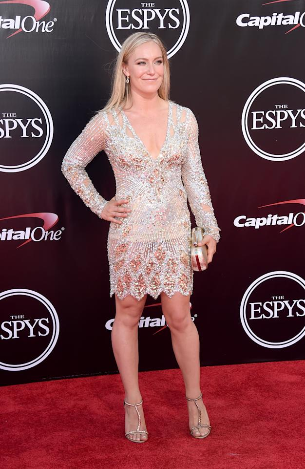 <p>Professional snowboarder Jamie Anderson arrives at the ESPY Awards at the Microsoft Theater on Wednesday, July 13, 2016, in Los Angeles. (Photo by Jordan Strauss/Invision/AP) </p>