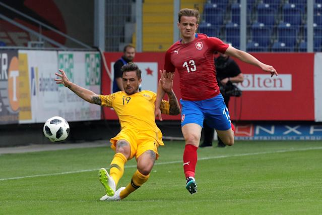 Soccer Football - International Friendly - Czech Republic v Australia - NV Arena, Sankt Polten, Austria - June 1, 2018 Australia's Joshua Risdon in action with Czech Republic's Jan Kopic REUTERS/Heinz-Peter Bader