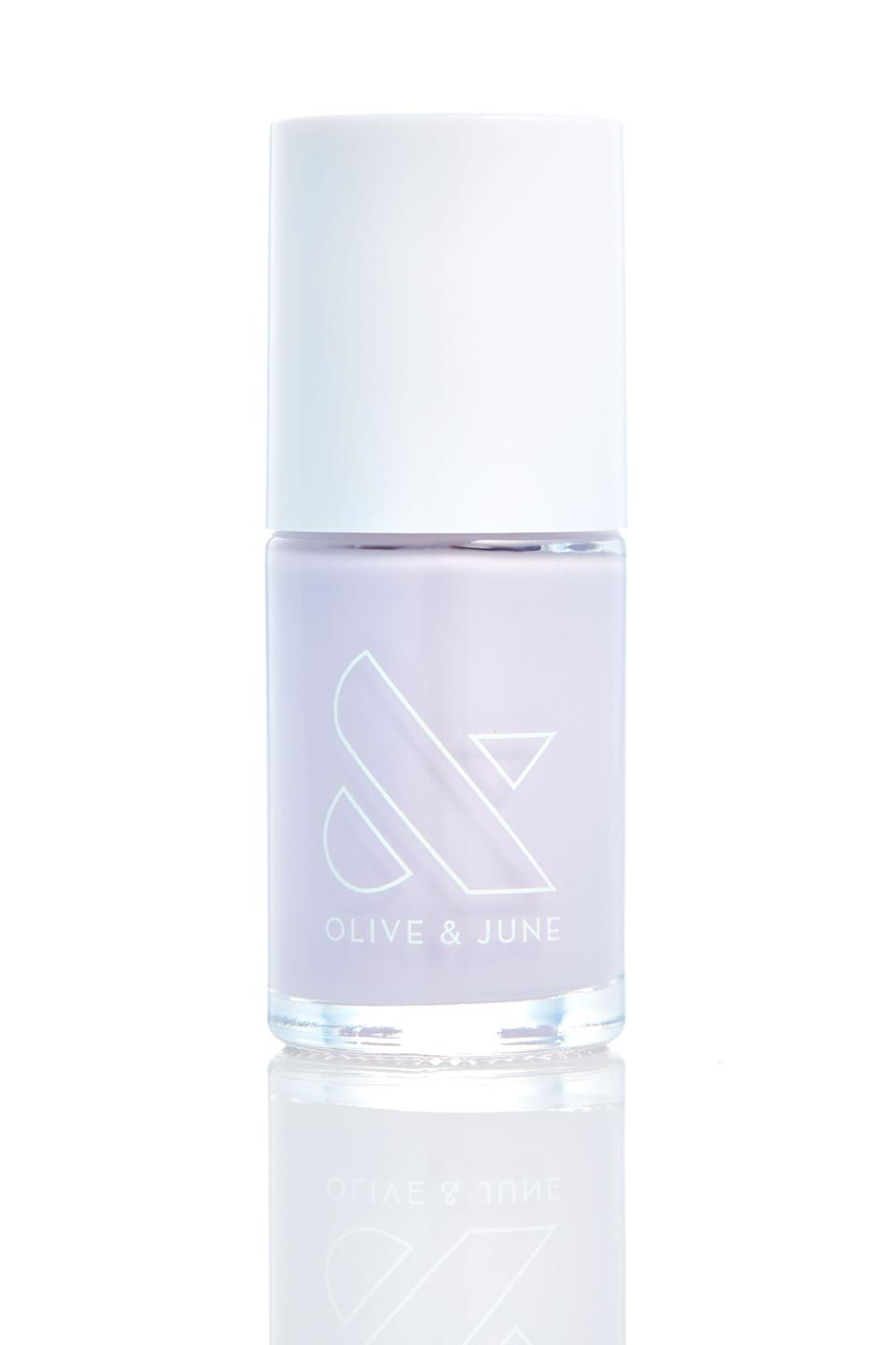 """<p>Round out your <a href=""""https://www.refinery29.com/en-us/pastel-nail-polish-colors"""" rel=""""nofollow noopener"""" target=""""_blank"""" data-ylk=""""slk:pastel collection"""" class=""""link rapid-noclick-resp"""">pastel collection</a> with this lilac polish that will fit perfectly into your <a href=""""https://www.refinery29.com/en-us/2018/08/206334/mismatched-nail-trend"""" rel=""""nofollow noopener"""" target=""""_blank"""" data-ylk=""""slk:mismatched manicure"""" class=""""link rapid-noclick-resp"""">mismatched manicure</a> rotation.</p><br><br><strong>Olive & June</strong> Nail Polish in Tara, $8, available at <a href=""""https://olivejune.com/collections/nail-polish/products/tara"""" rel=""""nofollow noopener"""" target=""""_blank"""" data-ylk=""""slk:Olive & June"""" class=""""link rapid-noclick-resp"""">Olive & June</a>"""